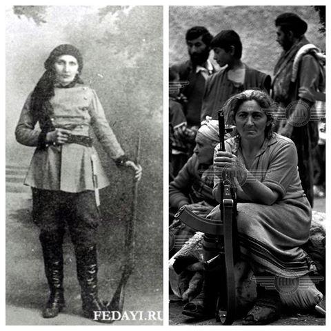 Сосе Майрик слева и армянка держит автомат Калашникова во время Карабахской войны справа.