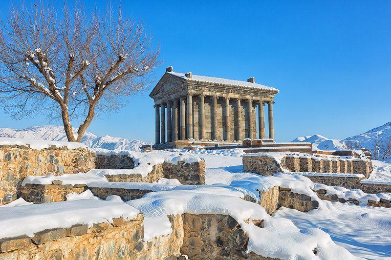The Temple of Garni in winter