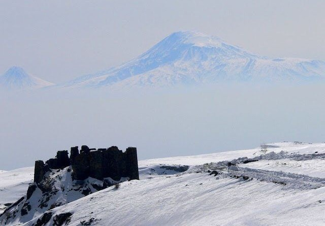 The Amberd Fortress in winter