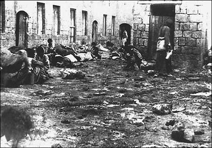 Armenian deportees sleeping in the street, 1915