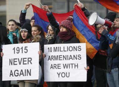 Armenian protesters demonstrate near the European Court of Human Rights in Strasbourg