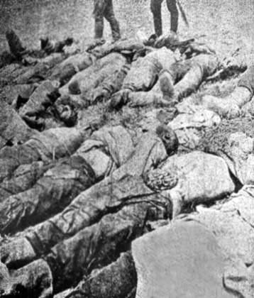 Beheaded bodies of Armenian workers, involves in the construction of Bitlis road