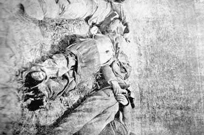 Beheaded bodies of Armenian workers. involves in the construction of Bitlis road