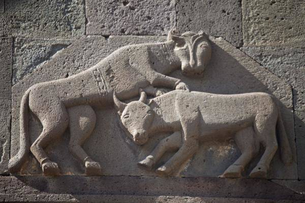 Picture of Geghard monastery (Armenia)- Carving on the wall of the Geghard Monastery