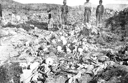 Remains of the Armenian corpses burnt alive in the cattle-shed in Aly-Zrna