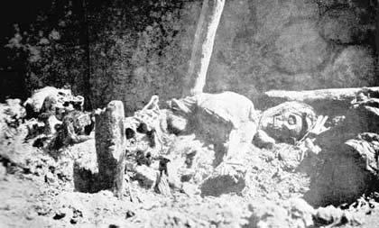 Skeletons of tortured Armenian children and women near monastery of Mush