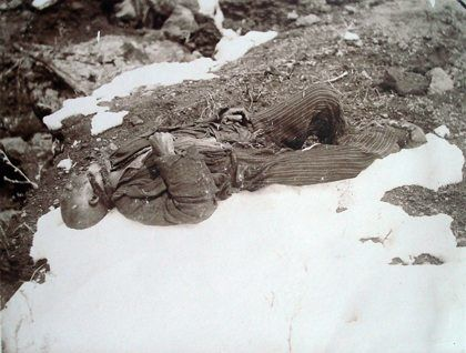 The body of an Armenian villager in snow