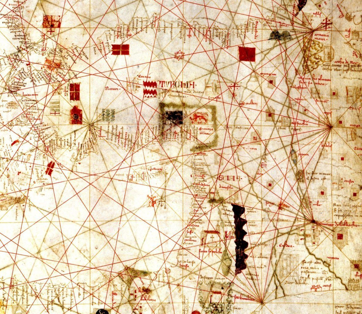The eastern section of Dulcert's portolan chart of the Mediterranean, dating from 399.