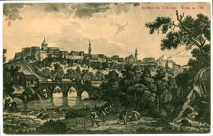 Yerevan in 1796 in the Qajar era, by G. Sergeevich. An Armenian church is seen on the left and a Persian mosque on the right