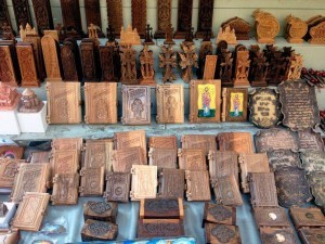 Bibles made of wood, crosses