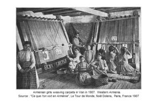 (1907) Armenian girls weaving carpets