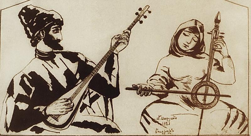Sayat Nova, an Armenian ashough, 1923 by Martiros Sarian.